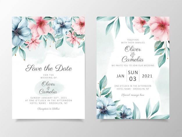Piękne kwiaty akwarela ślub szablon zaproszenia karty zestaw. Premium Wektorów