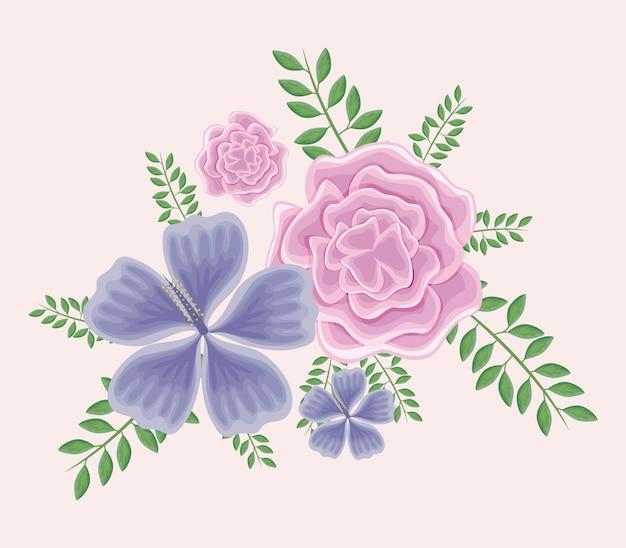 Piękne kwiaty z gałęziami i liśćmi Premium Wektorów