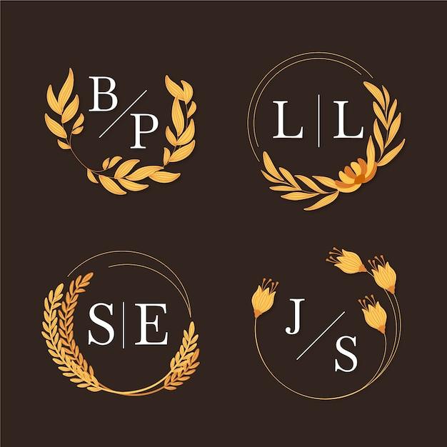 Piękne Logo Wesele Kwiatowy Darmowych Wektorów