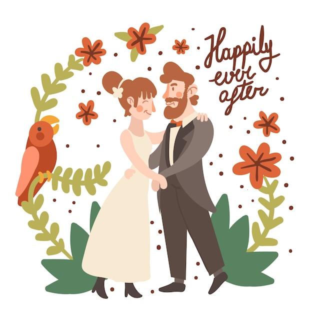 Piękne Pary ślubne Darmowych Wektorów