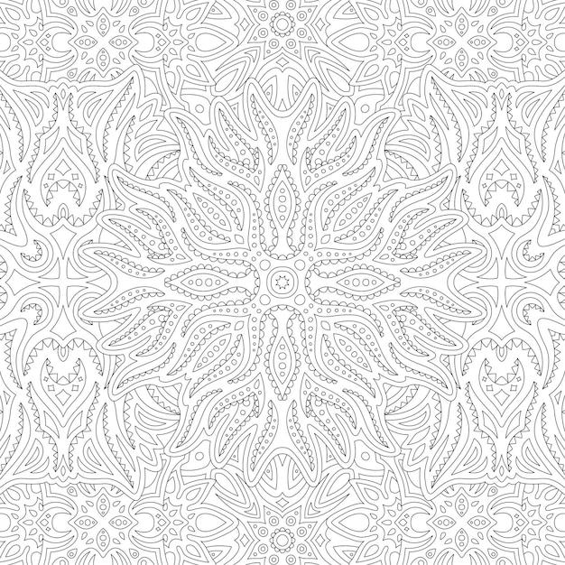 Piękne Plemienne Liniowe Monochromatyczne Ilustracja Do Kolorowania Książki Dla Dorosłych Premium Wektorów