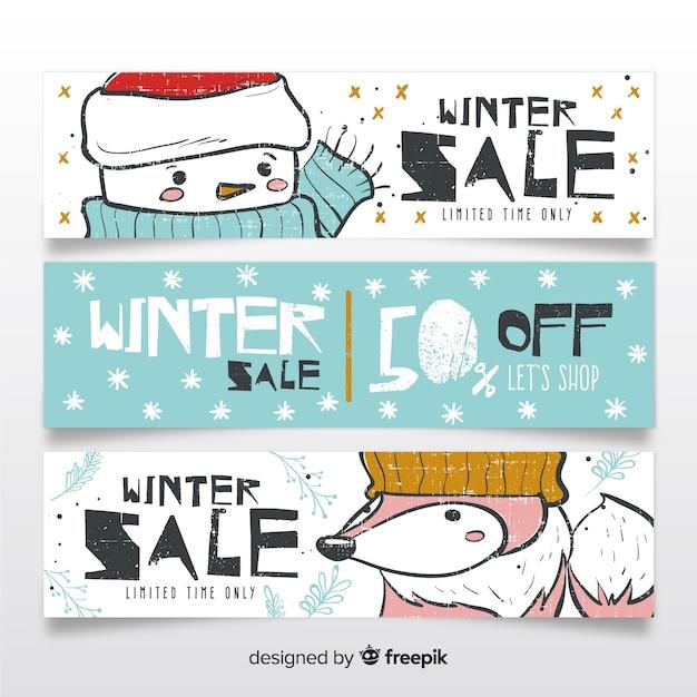 Piękne ręcznie rysowane banery sprzedaż zimowy Darmowych Wektorów