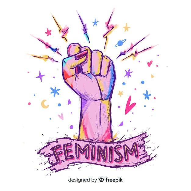 Piękne ręcznie rysowane feminizm compositionq Darmowych Wektorów