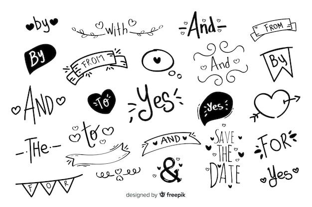 Piękne ręcznie rysowane hasło ślubne Darmowych Wektorów