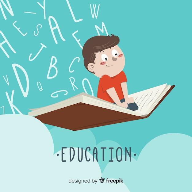 Piękne ręcznie rysowane koncepcja edukacji Darmowych Wektorów