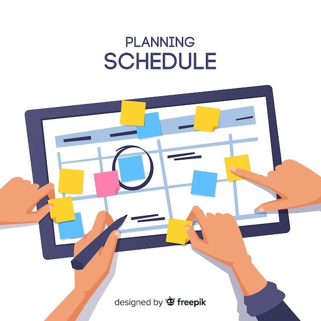 Piękne Ręcznie Rysowane Koncepcja Planowania Harmonogramu Premium Wektorów