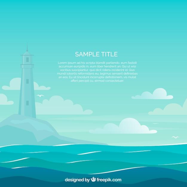 Piękne Sceny Morza Z Tłem Latarni Darmowych Wektorów