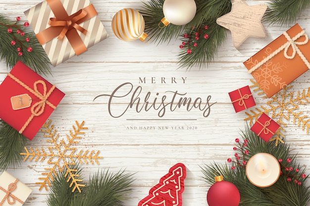 Piękne świąteczne tło z prezentami i ozdoby Darmowych Wektorów