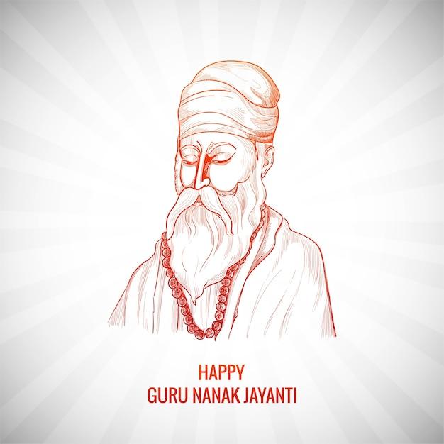 Piękne Tło Karty Festiwalu Guru Nanak Jayanti Darmowych Wektorów