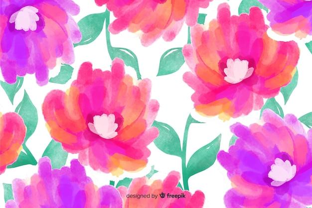Piękne tło kwiatowy akwarela Darmowych Wektorów