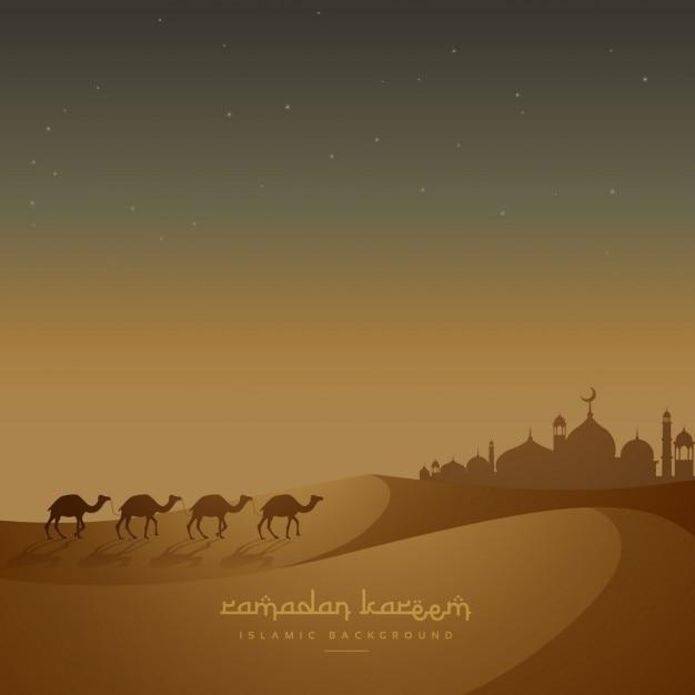 Piękne tło z islamski wielbłądy chodzenia na piasku Darmowych Wektorów
