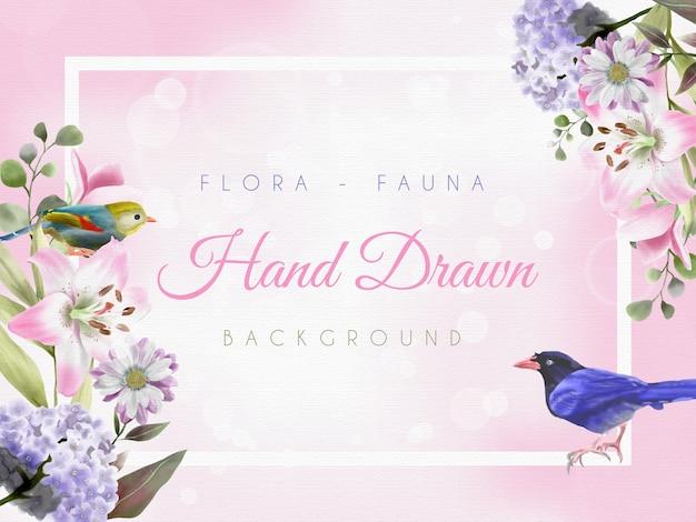 Piękne Tło Z Ręcznie Rysowanym Motywem Flory I Fauny Premium Wektorów