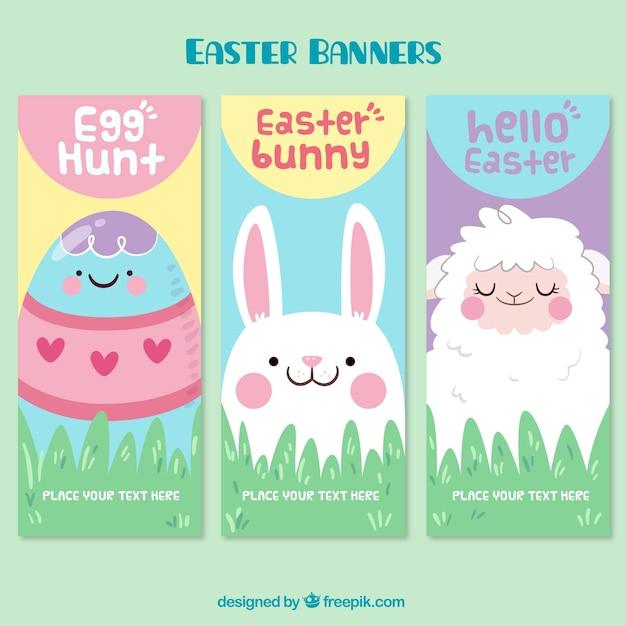 Piękne Transparenty Z Easter Znaków Darmowych Wektorów