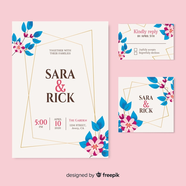 Piękne wesele zaproszenie na różowym tle Darmowych Wektorów