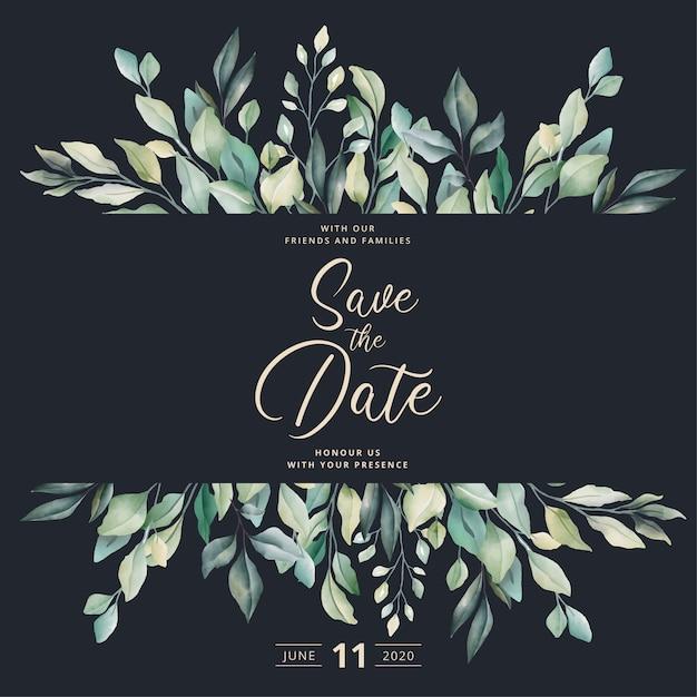 Piękne wesele zaproszenie z akwarela liści Darmowych Wektorów