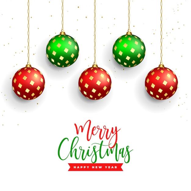 Piękne wesołych świąt bożego narodzenia tło z realistyczną piłkę dekoracji Darmowych Wektorów