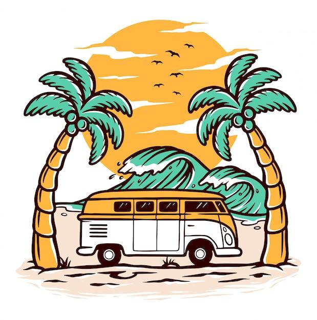 Piękne Widoki Na Plażę Premium Wektorów