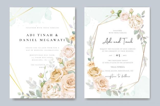 Piękne zaproszenia ślubne ramki kwiatowy Premium Wektorów
