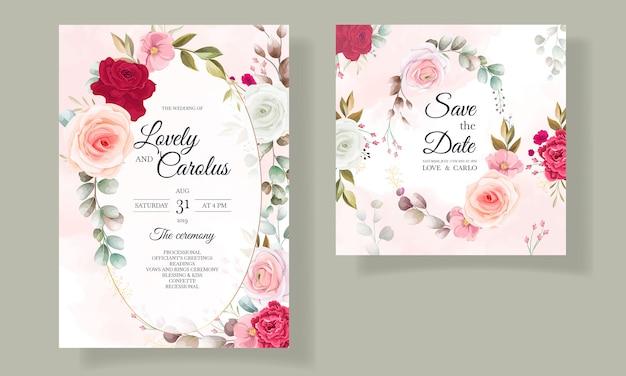 Piękne Zaproszenie Na ślub Kwiatowy I Liści Darmowych Wektorów