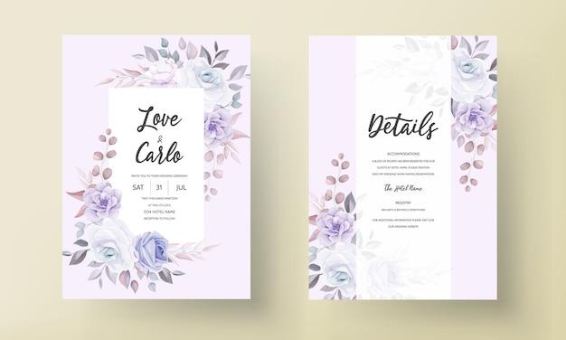 Piękne Zaproszenie Na ślub Z Fioletowymi Kwiatami Premium Wektorów