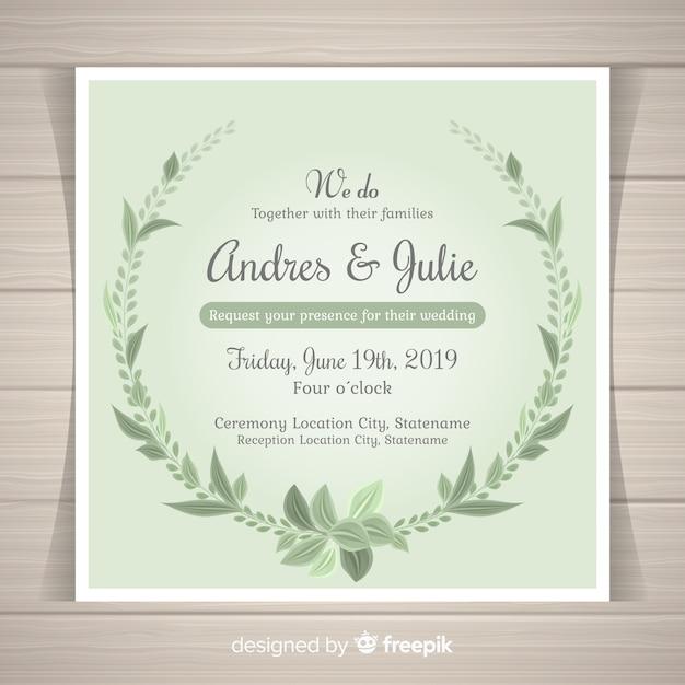 Piękne Zaproszenie Na ślub Z Liści Wyciągnąć Rękę Darmowych Wektorów