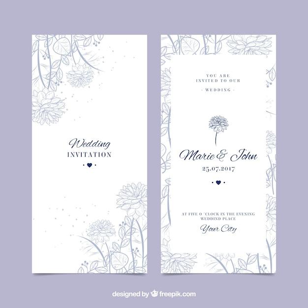 Piękne zaproszenie na ślub z ręcznie rysowane roślinności Darmowych Wektorów