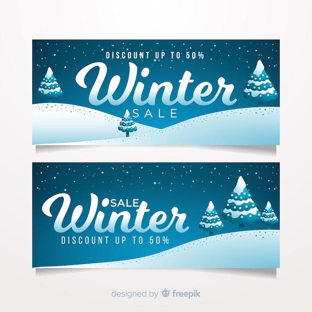 Piękne Zimowe Banery Sprzedaż Z Płaskiej Konstrukcji Darmowych Wektorów