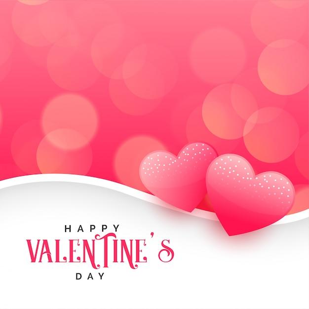 Piękni serca na różowym bokeh tle Darmowych Wektorów