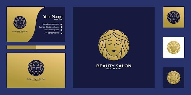 Piękno Kobiet Złote Logo Projekt I Wizytówkę. Dobre Wykorzystanie Logo Salonu, Spa I Mody Premium Wektorów