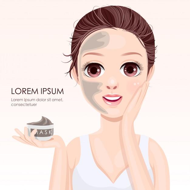 Piękno twarzy z maską gliny Premium Wektorów