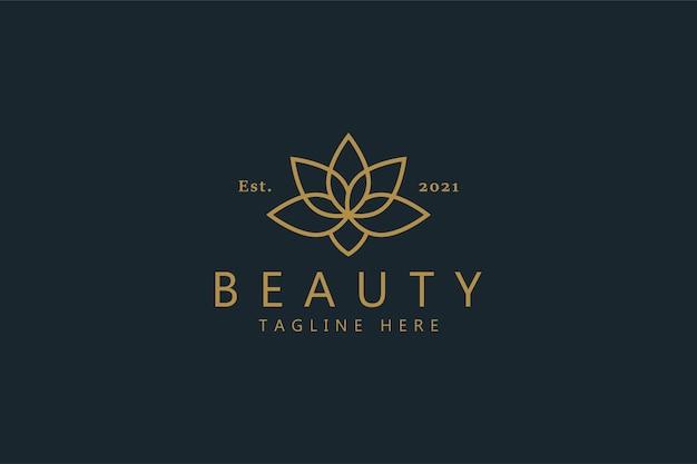 Piękno Wektor Premium Kwiat Lotosu Logo. Elegancki Symbol Koloru Złota. Tożsamość Najpopularniejszej Marki. Premium Wektorów