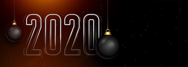 Piękny 2020 ciemny szczęśliwy nowy rok banner z bombkami Darmowych Wektorów