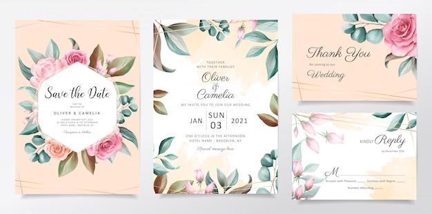 Piękny akwarela botaniczny ślub zaproszenia szablonu karty zestaw z kwiatami dekoracji. Premium Wektorów
