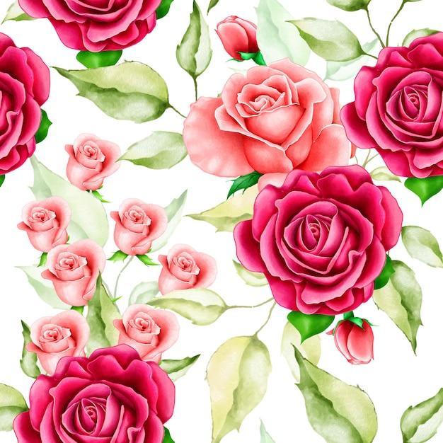 Piękny akwarela kwiatowy wzór Premium Wektorów
