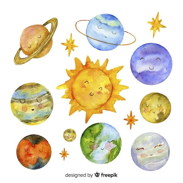 Piękny akwarelowy układ słoneczny Darmowych Wektorów