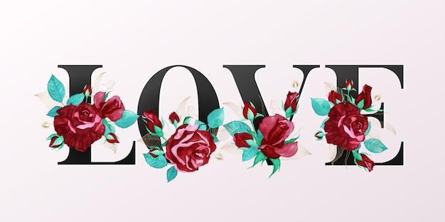 """Piękny Alfabet """"love"""" W Złotym Kolorze Z Dekoracją Z Akwareli Czerwonej Róży Premium Wektorów"""
