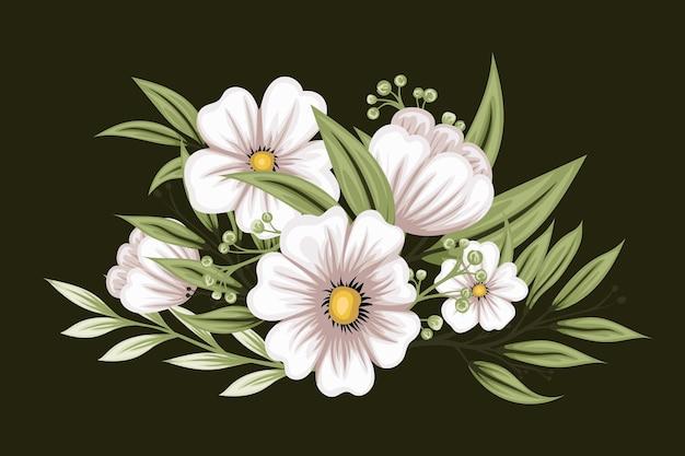 Piękny Biały Bukiet Kwiatów Darmowych Wektorów
