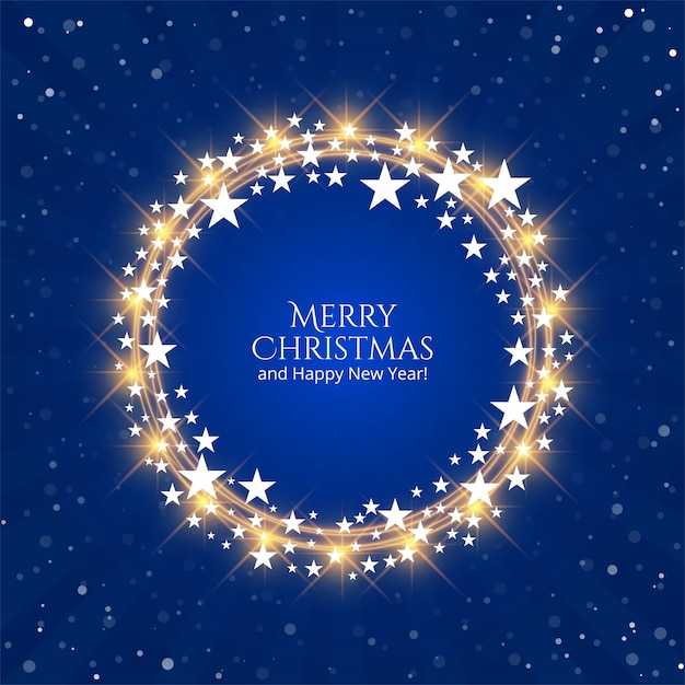 Piękny błyszczący gwiazd święta bożego narodzenia na niebieskim tle Darmowych Wektorów