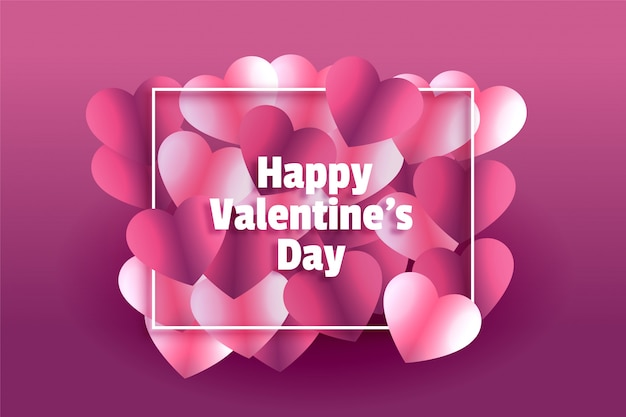 Piękny Błyszczący Serca Szczęśliwy Walentynki Kartkę Z życzeniami Darmowych Wektorów