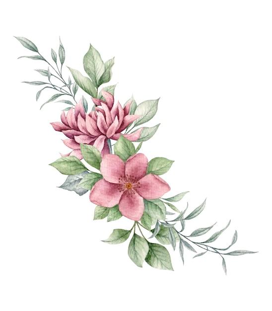 Piękny Bukiet Kwiatów I Liści Na Kartkę Walentynkową Premium Wektorów