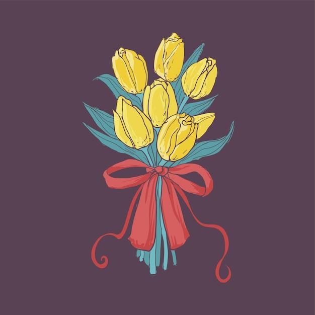 Piękny Bukiet żółtych Tulipanów Przewiązany Elegancką Czerwoną Wstążką Na Ciemnym Tle Premium Wektorów