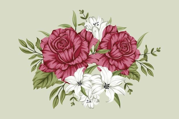Piękny Czerwono-biały Bukiet Kwiatów Darmowych Wektorów