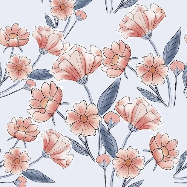 Piękny czerwony kwiat wzór Premium Wektorów
