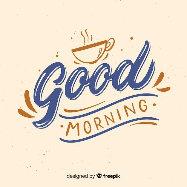 Piękny Dzień Dobry Napis Tło Darmowych Wektorów