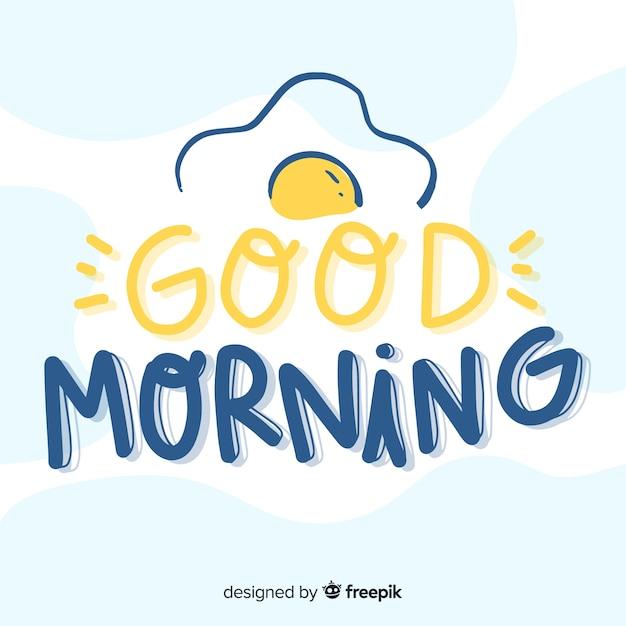 Piękny Dzień Dobry Napis Tło Premium Wektorów