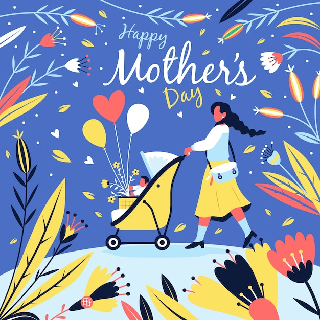 Piękny Dzień Matki Tło Darmowych Wektorów