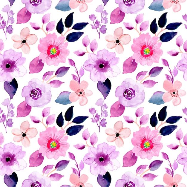 Piękny fioletowy kwiatowy wzór akwarela Premium Wektorów