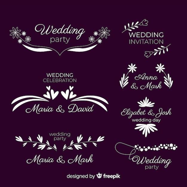 Piękny i elegancki zestaw logo lub logotypu na wesele lub kwiaciarnię Darmowych Wektorów