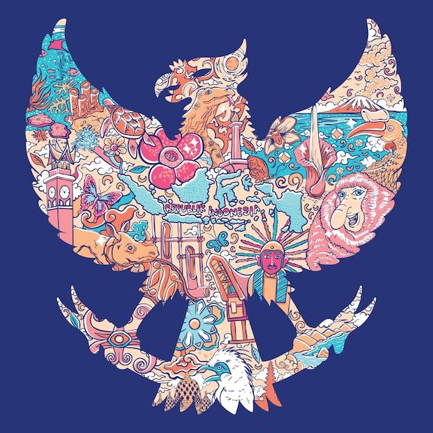 Piękny Indonesia W Garuda Silhouete Premium Wektorów