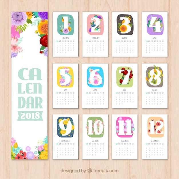 Piękny Kalendarz Z Kolorowymi Kwiatami Premium Wektorów